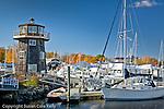 Fall foliage colors a marina in Essex, CT, USA