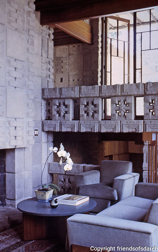 Frank Lloyd Wright: John Storer House, modern interior with Mayan details in concrete blocks. Photo April 2000.