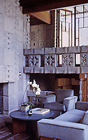 Frank Lloyd Wright: John Storer House, modern interior with Mayan details in concrete blocks. Photo April 2000.