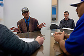 Los Angeles, California<br /> January 31, 2014<br /> <br /> Matthew Rayburn (far right), the Regional Manager for PATH's Central LA VASH offices and two PATH case workers interview 55 yr old homeless Navy veteran David Hauser to see if he is eligible for a HUD Vash housing voucher. <br /> <br /> David has been homeless for three years.