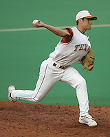 Texas Freshman Pitcher Chance Ruffin delivers against Texas A&M on May 16th, 2008 in Austin Texas. Photo by Andrew Woolley / Four Seam Images.