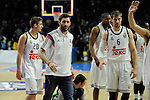 Real Madrid´s Rudy Fernandez, Jaycee Carroll and Andres Nocioni during 2014-15 Euroleague Basketball match between Real Madrid and Zalgiris Kaunas at Palacio de los Deportes stadium in Madrid, Spain. April 10, 2015. (ALTERPHOTOS/Luis Fernandez)