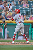 Edmundo Sosa (39) of the Memphis Redbirds bats against the Salt Lake Bees at Smith's Ballpark on July 24, 2018 in Salt Lake City, Utah. Memphis defeated Salt Lake 14-4. (Stephen Smith/Four Seam Images)