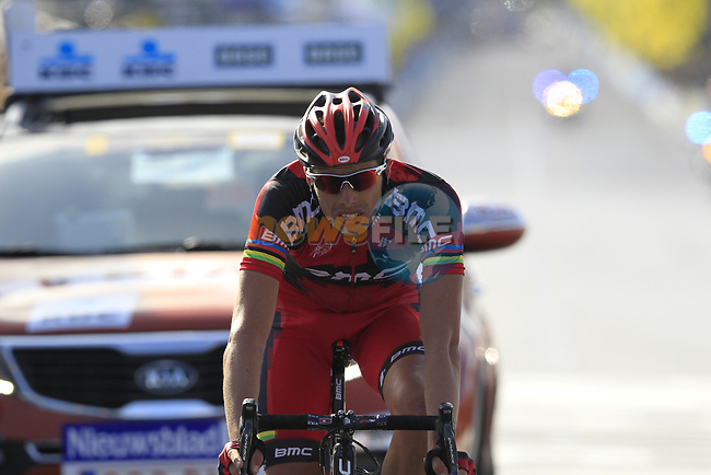 Alessandro Ballan (ITA) BMC Racing Team crosses the line in 3rd place at the end of the 96th edition of The Tour of Flanders 2012 , running 256.9km from Bruges to Oudenaarde, Belgium. 1st April 2012. <br /> (Photo by Eoin Clarke/NEWSFILE).