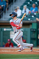 Syracuse Chiefs shortstop Matt Reynolds (1) bats during a game against the Buffalo Bisons on July 6, 2018 at Coca-Cola Field in Buffalo, New York.  Buffalo defeated Syracuse 6-4.  (Mike Janes/Four Seam Images)
