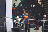 29th August 2021; Spa Francorchamps, Stavelot, Belgium: FIA F1 Grand Prix of Belgium,  race day: After cancellation of the race due to standing water on track, VERSTAPPEN Max (ned), Red Bull Racing Honda RB16B, portrait celebrates his victory during the Formula 1 Belgium Grand Prix,