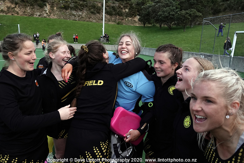 Dalefield players celebrate winning the women's premier one Wellington Hockey final between Hutt United and Dalefield at National Hockey Stadium in Wellington, New Zealand on Saturday, 26 September 2020. Photo: Dave Lintott / lintottphoto.co.nz