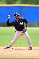 New York Yankees Angelo Gumbs (90) during practice before a minor league spring training game against the Toronto Blue Jays on March 24, 2015 at the Englebert Complex in Dunedin, Florida.  (Mike Janes/Four Seam Images)