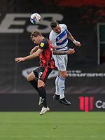 Bournemouth's Jack Stacey (left) battles with Queens Park Rangers' Geoff Cameron (right) <br /> <br /> Photographer David Horton/CameraSport<br /> <br /> The EFL Sky Bet Championship - Bournemouth v Queens Park Rangers - Saturday 17th October 2020 - Vitality Stadium - Bournemouth<br /> <br /> World Copyright © 2020 CameraSport. All rights reserved. 43 Linden Ave. Countesthorpe. Leicester. England. LE8 5PG - Tel: +44 (0) 116 277 4147 - admin@camerasport.com - www.camerasport.com