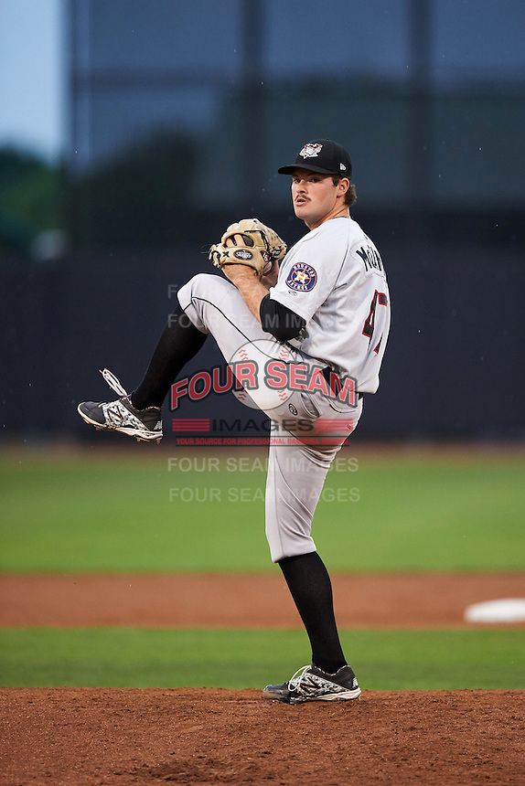 Tri-City ValleyCats pitcher Kevin McCanna (47) delivers a pitch during a game against the Aberdeen Ironbirds on August 6, 2015 at Ripken Stadium in Aberdeen, Maryland.  Tri-City defeated Aberdeen 5-0 as Kevin McCanna, Garza and Zach Person combined to throw a no-hitter. (Mike Janes/Four Seam Images)