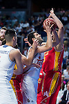 Real Madrid's player Felipe Reyes and UCAM Murcia's player Faverani during the third match of the Liga Endesa Playoff at Barclaycard Center in Madrid. May 31. 2016. (ALTERPHOTOS/Borja B.Hojas)