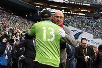 SEATTLE, WA - NOVEMBER 10: Toronto FC legend Danny Dichio embraces Seattle Sounders FC legend Chad Marshall during a game between Toronto FC and Seattle Sounders FC at CenturyLink Field on November 10, 2019 in Seattle, Washington.