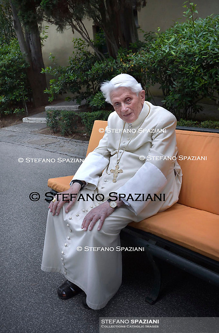 Pope Emeritus Benedict XVI, Photographed in the Vatican Gardens on June 25, 2019.