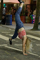 Young people out and about, celebrating their A level results in Wind Street, Swansea, Wales, UK. Tuesday 10 August 2021