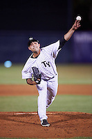 Tampa Yankees relief pitcher Daniel Camarena (39) delivers a pitch during a game against the Lakeland Flying Tigers on April 8, 2016 at George M. Steinbrenner Field in Tampa, Florida.  Tampa defeated Lakeland 7-1.  (Mike Janes/Four Seam Images)