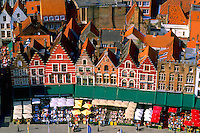 Belgium Market Place in center cafes taken from Belfort 337 steps above center the colorful city of Bruges