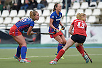 GER - Mannheim, Germany, October 09: During the women hockey match between Mannheimer HC (blue) and Ruesselsheimer RK (red) on October 9, 2016 at Mannheimer HC in Mannheim, Germany. Final score 6-0 (HT 1-0). (Photo by Dirk Markgraf / www.265-images.com) *** Local caption *** Nike Lorenz #16 of Mannheimer HC, Nikki Kidd #26 of Mannheimer HC