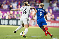 Orlando City, FL - Wednesday March 07, 2018: Anna Blässe, Eugénie Le Sommer during a 2018 SheBelieves Cup match between the women's national teams of Germany (GER) and France (FRA) at Orlando City Stadium.