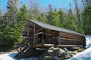 The Log Cabin is located along Lowe's Path at 3,263 feet in the Northern Presidential Range in the White Mountains, New Hampshire USA. This shelter is designed after the Alaskan trapper style building and is located in a Forest Protection Area.