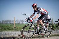 Tim Wellens (BEL/Lotto-Soudal) riding alongside the Varentstraat cobbles<br /> <br /> 76th Dwars door Vlaanderen 2021 (MEN1.UWT)<br /> 1 day race from Roeselare to Waregem (184km)<br /> <br /> ©kramon