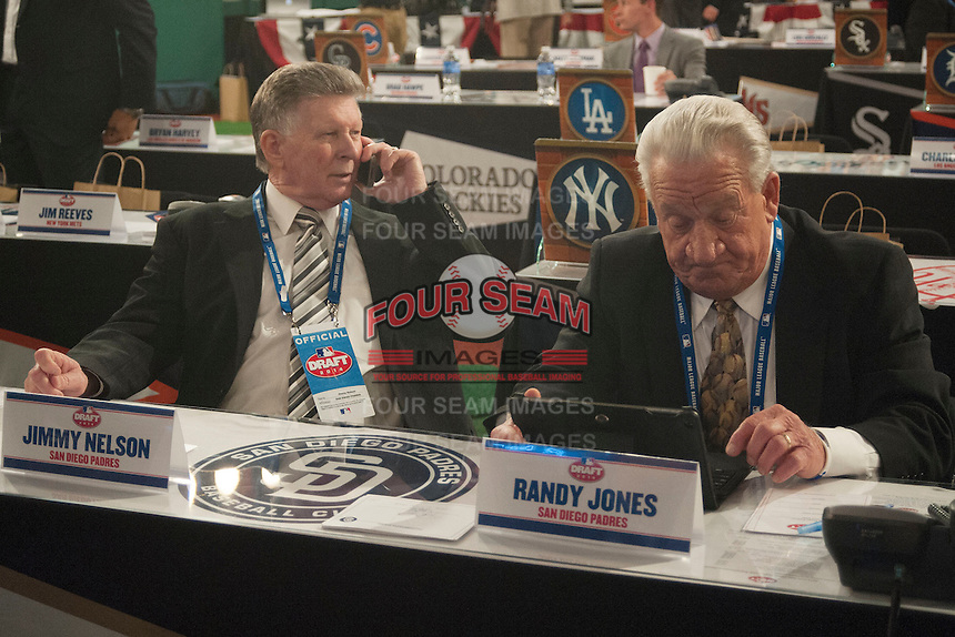 San Diego Padres Representative Jimmy Nelson and 1976 Cy Young Award winner Randy Jones during the MLB Draft on Thursday June 05,2014 at Studio 42 in Secaucus, NJ.   (Tomasso DeRosa/ Four Seam Images)
