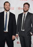 LAS VEGAS, NV - March 27: Comedy Filmmakers of the Year Award winners Evan Goldberg and Seth Rogan at the CinemaCon Big Screen Achievement Awards on March 27, 2014 in Las Vegas, Nevada. © Kabik/ Starlitepics