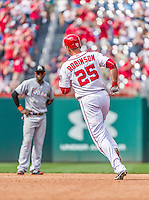 30 August 2015: Washington Nationals first baseman Clint Robinson rounds the bases after pinch hitting a two-run homer in the 6th inning against the Miami Marlins at Nationals Park in Washington, DC. The Nationals rallied to defeat the Marlins 7-4 in the third game of their 3-game weekend series. Mandatory Credit: Ed Wolfstein Photo *** RAW (NEF) Image File Available ***