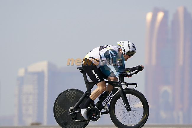 Lasse Norman Hansen (DEN) Team Qhubeka Assos during Stage 2 of the 2021 UAE Tour an individual time trial running 13km around  Al Hudayriyat Island, Abu Dhabi, UAE. 22nd February 2021.  <br /> Picture: Eoin Clarke | Cyclefile<br /> <br /> All photos usage must carry mandatory copyright credit (© Cyclefile | Eoin Clarke)