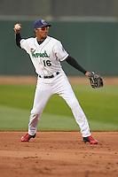 Cedar Rapids Kernels Jermaine Palacios (16) throws to first base during the game against the Clinton LumberKings at Veterans Memorial Stadium on April 15, 2016 in Cedar Rapids, Iowa.  Clinton won 11-5.  (Dennis Hubbard/Four Seam Images)