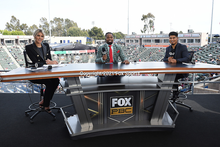 CARSON, CA - MAY 1: Charissa Thompson, Shawn Porter, and Mikey Garcia on the Fox Sports PBC fight night on May 1, 2021 at Dignity Health Sports Park in Carson, CA. (Photo by Frank Micelotta/Fox Sports/PictureGroup)
