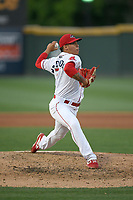 Pitcher Oddainer Mosqueda (7) of the Greenville Drive delivers a pitch in a game against the West Virginia Power on Friday, May 17, 2019, at Fluor Field at the West End in Greenville, South Carolina. West Virginia won, 10-4. (Tom Priddy/Four Seam Images)