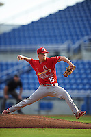 Palm Beach Cardinals starting pitcher Blake McKnight (15) delivers a pitch during a game against the Dunedin Blue Jays on April 15, 2016 at Florida Auto Exchange Stadium in Dunedin, Florida.  Dunedin defeated Palm Beach 8-7.  (Mike Janes/Four Seam Images)