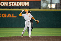 Tennessee Volunteers second baseman Max Ferguson (2) warms up prior to the game against the LSU Tigers on Robert M. Lindsay Field at Lindsey Nelson Stadium on March 27, 2021, in Knoxville, Tennessee. (Danny Parker/Four Seam Images)