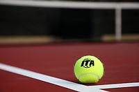 RALEIGH, NC - JANUARY 25: Indoor Tennis Association logo marked tennis ball during a game between Oklahoma and Florida at J.W. Isenhour Tennis Center on January 25, 2020 in Raleigh, North Carolina.
