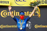 1st July 2021; Chateauroux, France; CAVENDISH Mark (GBR) of DECEUNINCK - QUICK-STEP pictured during the podium ceremony after winning during stage 6 of the 108th edition of the 2021 Tour de France cycling race, a stage of 160,6 kms between Tours and Chateauroux on July 1