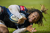 27th December 2020; AJ Bell Stadium, Salford, Lancashire, England; English Premiership Rugby, Sale Sharks versus Wasps;  Marland Yarde of Sale Sharks  scores a try in the 77th minute to make it 23-26