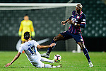 FC Kitchee Forward Alessandro Ferreira (r) trips up with FC Hanoi Midfielder Doan Van Hau (l) during the AFC Champions League 2017 Preliminary Stage match between  Kitchee SC (HKG) vs Hanoi FC (VIE) at the Hong Kong Stadium on 25 January 2017 in Hong Kong, Hong Kong. Photo by Marcio Rodrigo Machado/Power Sport Images