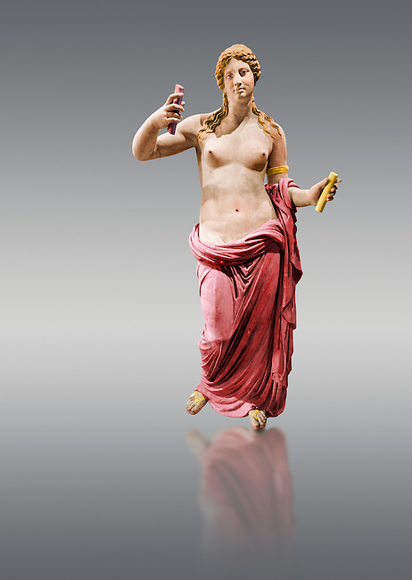 Painted colour verion of Aphrodite- type known as the Venus of Arles. A Roman statue in marble of the 1st - 2nd century AD in marble from Rome. The statue is a 1.94-metre-high (6.4ft) and is  probably a copy of the Aphrodite of Thespiae a lost bronze sculpture by 4th century BC Greek Athenian sculpture Praxiteles . From the Royal collection Inv MR 366 ( or Ma 437), Louvre Museum, Paris.