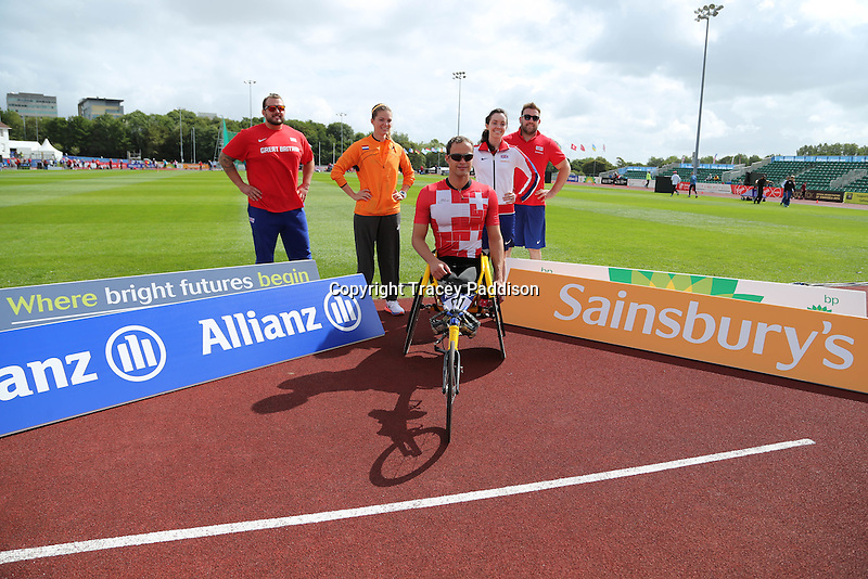 Monday August 18, 2014 <br /> Pictured: Aled Sion Davies, Dan Greaves, Stef Reid, Marlou van Rhijn, Marcel Hug.<br /> RE: Photo call at the IPC Athletics European Championships in Swansea University, Wales, United Kingdom