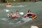 Turkey, Province Mugla, near Fethiye: Rubber ring rafting on river Xanthos in Saklikent Gorge | Tuerkei, Provinz Mugla, bei Fethiye: Rafting mit Gummiringen in der Saklikent Schlucht auf dem antiken Fluss Xanthos