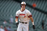 Blake Chisolm (27) of the Sam Houston State Bearkats hustles towards home plate after hitting an inside-the-park home run against the Vanderbilt Commodores in game one of the 2018 Shriners Hospitals for Children College Classic at Minute Maid Park on March 2, 2018 in Houston, Texas.  The Bearkats walked-off the Commodores 7-6 in 10 innings.   (Brian Westerholt/Four Seam Images)