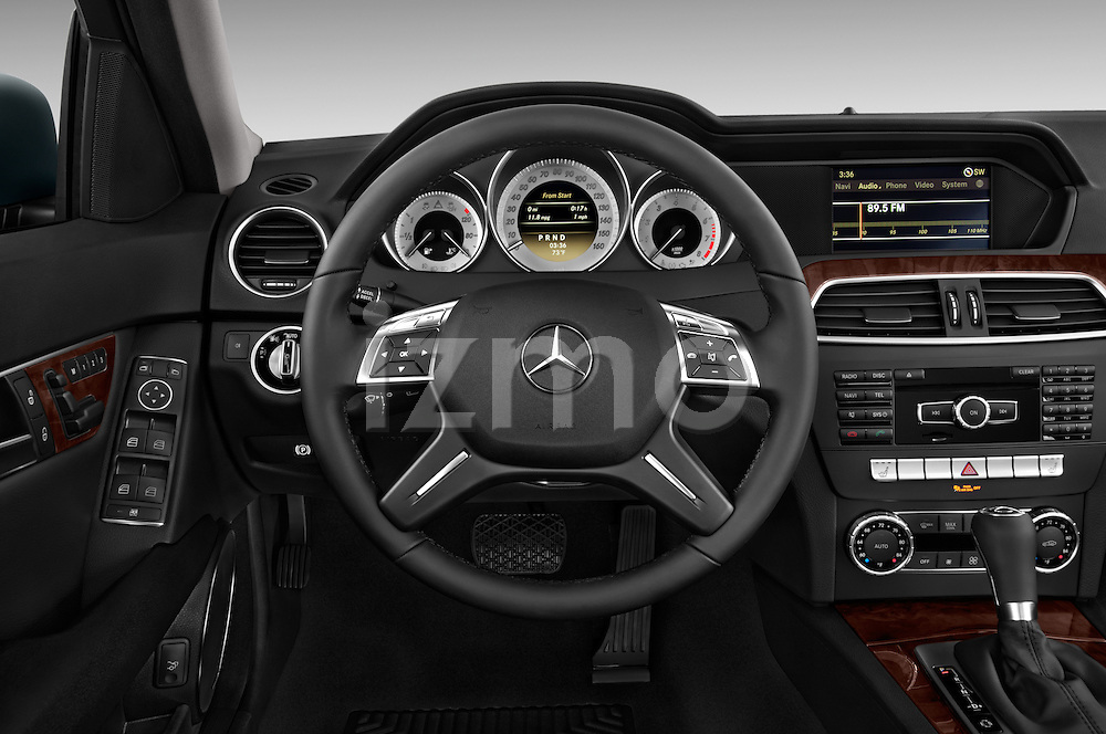 Steering wheel view of a 2014 Mercedes C Class Luxury