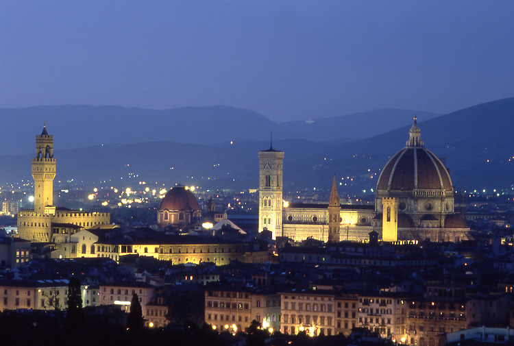 Europe, ITA, Italy, Tuscany, Florence, Typical view on to the city, Palazzo Vecchio and Cathedral at evening light....[ For each utilisation of my images my General Terms and Conditions are mandatory. Usage only against use message and proof. Download of my General Terms and Conditions under http://www.image-box.com or ask for sending. A clearance before usage is necessary...Material is subject to royalties. Each utilisation of my images is subject to a fee in accordance to the present valid MFM-List...Contact | archive@image-box.com | www.image-box.com ]