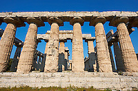 Doric style temple of Hera of Paestrum, built around 550 BC by Greek colonists from Sybaris, is the oldest surviving temple in Paestrum archaeological site, Italy.