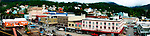 Panorama of downtown Ketchikan, Alaska taken from the deck of a cruise ship in August.
