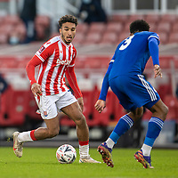 9th January 2021; Bet365 Stadium, Stoke, Staffordshire, England; English FA Cup Football, Carabao Cup, Stoke City versus Leicester City; Jacob Brown of Stoke City has his eye on the ball as he takes on Fofana or Leicester
