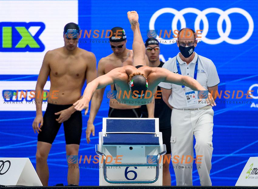 4 x 200 m Freestyle Men<br /> Preliminary<br /> ITA - ITALY<br /> FRIGO Manuel<br /> CIAMPI Matteo<br /> MEGLI Filippo<br /> DE TULLIO Marco<br /> Swimming<br /> Budapest  - Hungary  19/5/2021<br /> Duna Arena<br /> XXXV LEN European Aquatic Championships<br /> Photo Giorgio Perottino / Deepbluemedia / Insidefoto