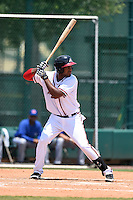 GCL Braves designated hitter Edward Salcedo (25) at bat during a game against the GCL Blue Jays on June 27, 2014 at the ESPN Wide World of Sports in Orlando, Florida.  GCL Braves defeated GCL Blue Jays 10-9.  (Mike Janes/Four Seam Images)
