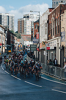5th October 2021, AJ Bell  Womens  Cycling Tour, Stage 2,  Walsall to Walsall. The peloton approach the final corner of stage 2.