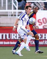 Ryan Pore and Jamison Olave in the 0-0 draw at Rice Eccles Stadium in Salt Lake City, Utah on  June 7, 2008.